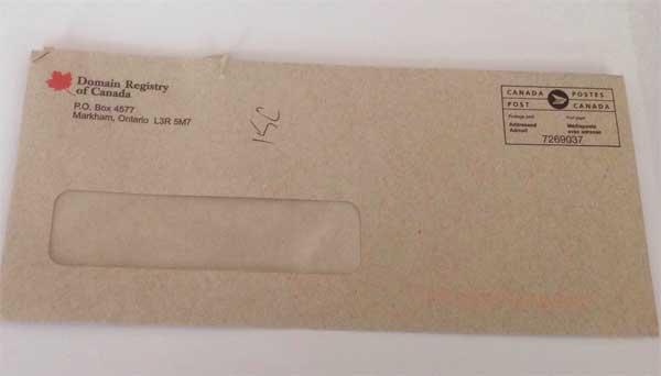 Domain Registry of Canada Scam Envelope
