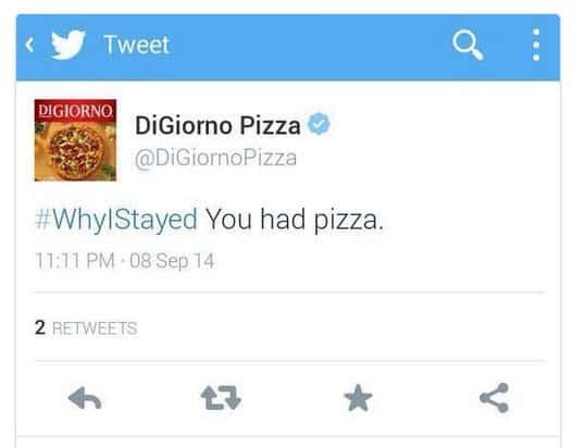 DigGorno #whyIstayed tweet