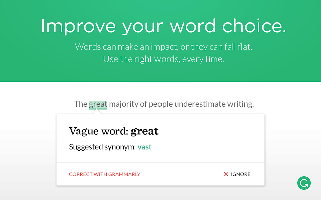 Screenshot of Grammarly Chrome Extension