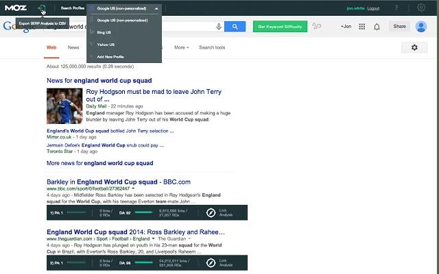 Screenshot of Mozbar Chrome Extension