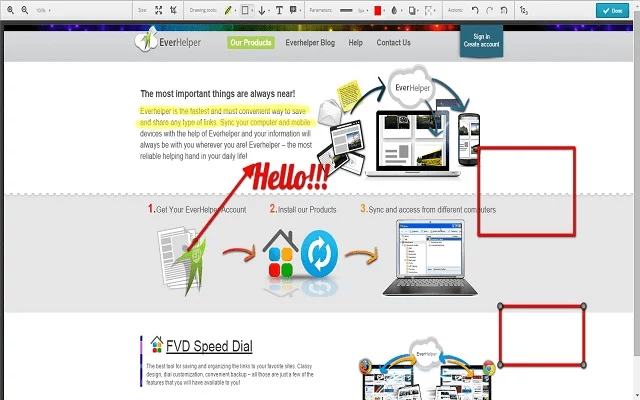 Screenshot of Nimbus Google Chrome Extension