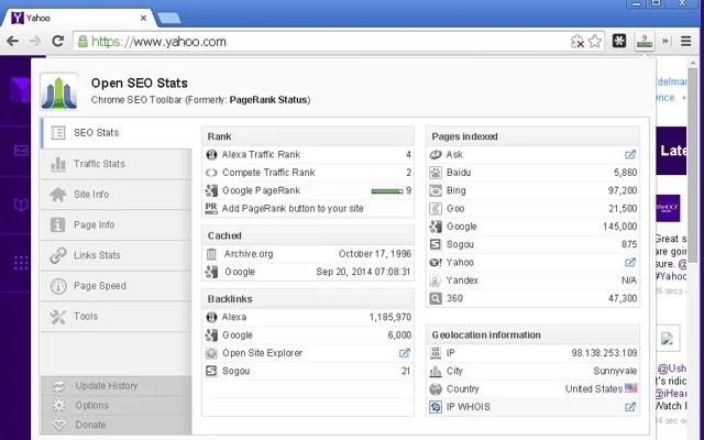 Screenshot of Open SEO Stats Google Chrome Extension