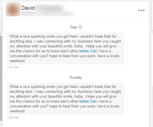 Creepy message on LinkedIn