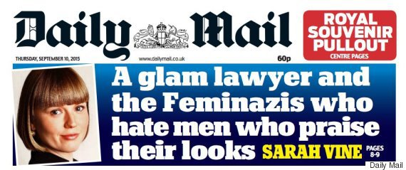 Daily Mail Cover calling Proudman's supporters Feminazis