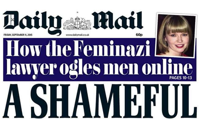Daily Mail Cover calling Proudman a Feminazi