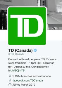 TD Canada Trust Twitter Account