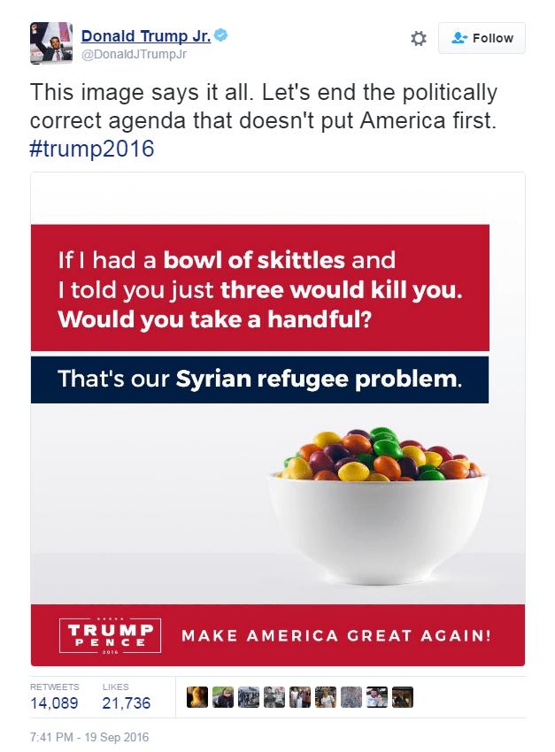 Trump Jr Skittles Tweet