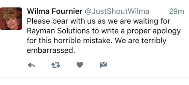 Wilma Fournier - Apology Tweet