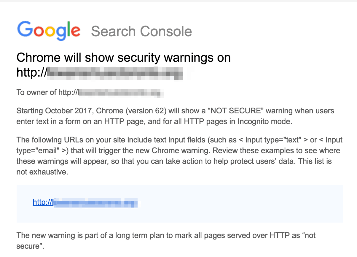 Google Search Console Security Warning Screen Grab